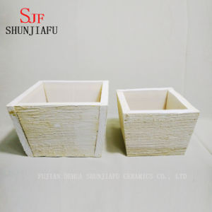 Customized Rustic Style Realistic Artificial Succulent Plants Brown Wood Square Planter Pots Rectangular Tray pictures & photos