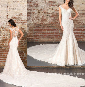 V-Neck Lace Bridal Gowns Cathedral Long Wedding Dress D1947 pictures & photos