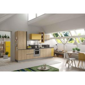 Yellow and Wood Grain Color Contrast Melamine Kitchen Cabinets pictures & photos