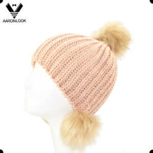 Lady Winter Simple Solid Color Fur Pompom Beanie pictures & photos