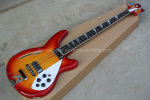 Hanhai Music/Cherry Sunburst and Green Electric Bass with 4 Strings pictures & photos
