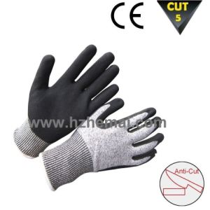 Sandy Nitrile Coating Hppe Gloves Cut Resistant Work Glove pictures & photos