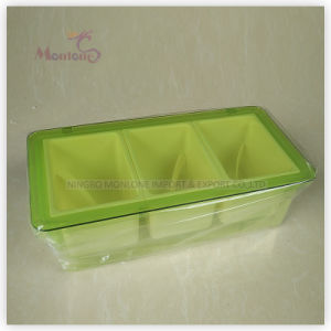 Promotional Plastic 3-Compartment Seasoning Box 24*12.5*7cm pictures & photos
