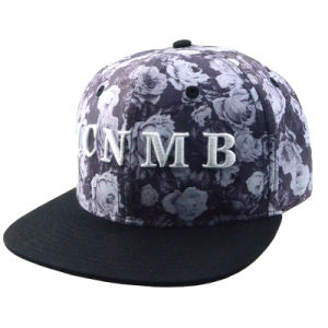 Custom Floral 6 Panels 3D Embroidery Polyester Snapback Cap pictures & photos