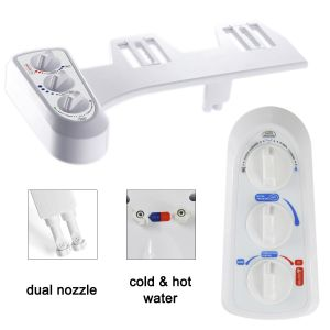 Non-Electric Dual Nozzles Cold & Hot Water Clean Manual Bidet Toilet Attachment