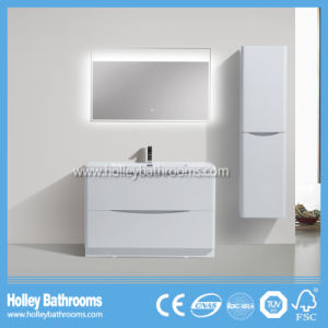 Modern High Gloss Painting Bathroom Cabinet with Side Cabinet and LED Lamp (BF318D)