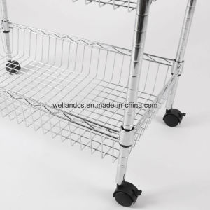 Multi-Function Chrome Wire Kitchen Trolley Basket Rack with Nylon Wheels pictures & photos