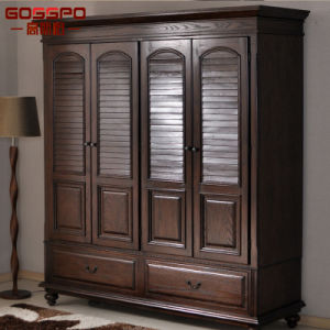 Home Furniture Bedroom Walk in Carved Wood Wardrobe (GSP17-013) pictures & photos