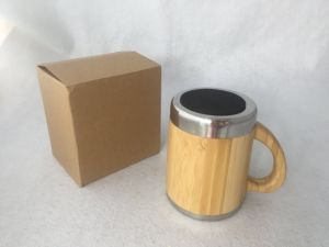 10oz Natural Stainless Steel Bamboo Mug with Handle pictures & photos