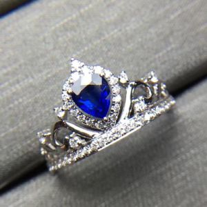Princess Crown Silver Ring with Blue Cubic Zircon pictures & photos