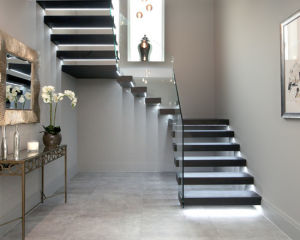LED Floating Wooden Staircase with Glass Railing Stainless Steel Balustrade pictures & photos
