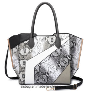 Ladies Winged Snake PU Tote Bag Patchwork Shoulder Handbag pictures & photos