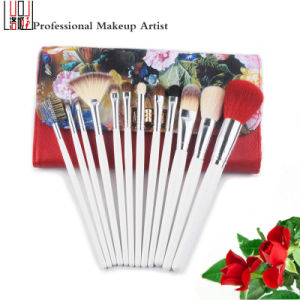 12 Pieces Cosmetic Tool Animal Hair Makeup Artist Brushes with Sexy Floral Bag