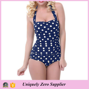 Women Slim Skinny Polka Dots Print One Piece Swimsuit pictures & photos