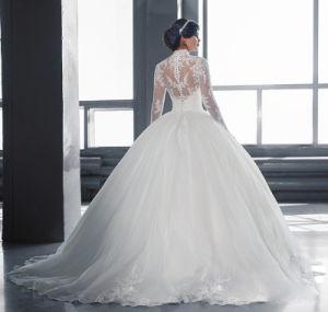 Long Sleeves Bridal Ball Gown Muslim Choker Wedding Dress Wz2016 pictures & photos