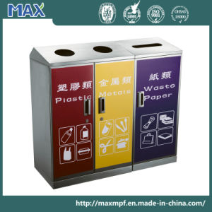 Stainless Steel 3 Container Recycle Dustbin for Airport pictures & photos