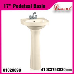 China Low Price Floor Mounted Solid Surface Hand Wash Pedestal Basin Black Color pictures & photos
