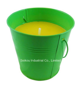 Color Painted Citronella Bucket Candle with Handle (SK8083)