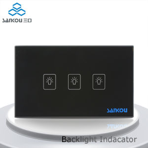 Sankou Us/Au Standard, Black Crystal Glass Panel, 3-Gang 2-Way Touch Control Light Switch with LED