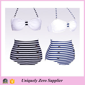 2016 Hot Sale Trendy Navy Designs Blue and White Stripes Tankinis Bikini with High Waist Shorts pictures & photos