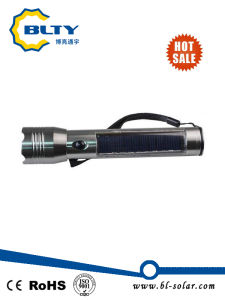 3W Solar Powered LED Flashlight Torch with USB Cable Rechargeable pictures & photos