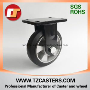 Spray-Paint Black Fixed Caster with Rubber Wheel Aluminum Center  pictures & photos