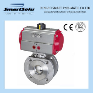 Wafer Flanged End 316 Material Pneumatic Acuator, Pneumatic Ball Valve pictures & photos