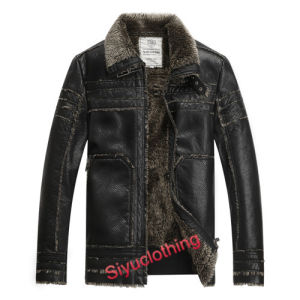 2015 Men Leather Lapel Casual Windproof Latest Design PU Winter Jacket (F-1632) pictures & photos