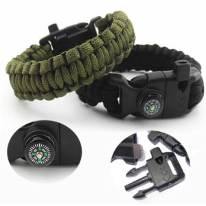 Compass Bracelet 5 in 1 Survival Flint Fire Starter Paracord Whistle Gear Buckle Camping Ignition Equipment Rescue Rope EDC Camp pictures & photos