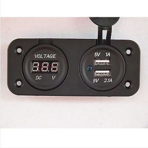 Voltmeter and Double USB Power Socket Flush Mount Square Car 4X4 Camper Caravan pictures & photos