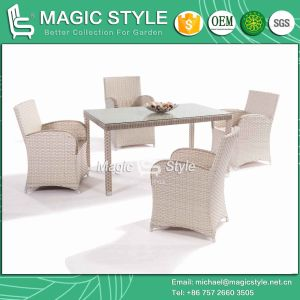 Wide Wicker Weaving Chair New Design Dining Set Garden Dining Set Rattan Dining Set (Magic Style) pictures & photos