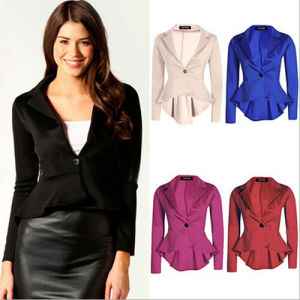 C1124 Ol Short Leisure Suit Jacket with Single Button and Ruffles pictures & photos