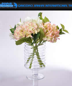Creative Design Transparent Round Glass Flower Vase with String Decoration pictures & photos