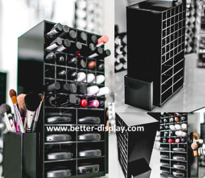 Black Acrylic Spinning Lipstick Tower with Brush Holder pictures & photos