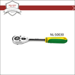 Quick Ratchet Wrench with Rubber Handle, Chrome Plated.
