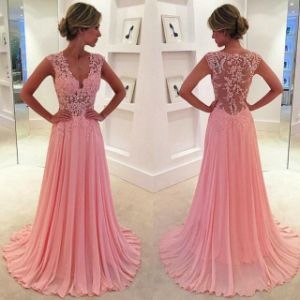 Pink Lace Tulle Party Dress Beaded Cocktail Evening Dress Z116 pictures & photos
