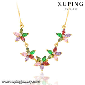 43017 Fashion Elegant 24k Gold-Plated Women CZ Leaf-Shaped Imitation Jewelry Chain Necklace pictures & photos