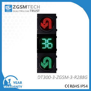 Turn Round U Turn Traffic signal Light with 2 Digital Counterdown Timer Red Green 2 Colors Dia. 300mm 12 Inch