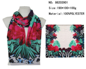 2016 The Fashion Printed Voile Printed Flower Scarf