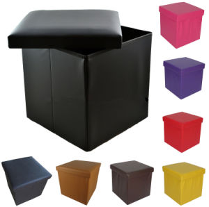 PVC Leather Square Hard Lid Foldable Storage Ottoman For Home Use