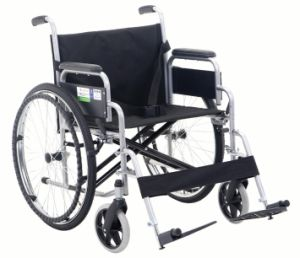 Lifted Armrest and Footrest Widen Seat Steel Wheelchair