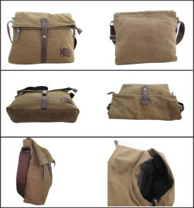 Fashion Coffee Genuine Leather Canvas Messenger Bag pictures & photos