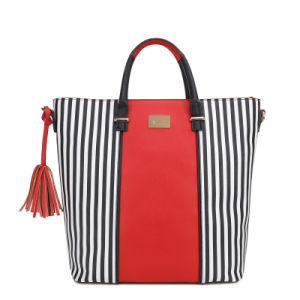 Vertical Stripes Red Handbag Js-8123