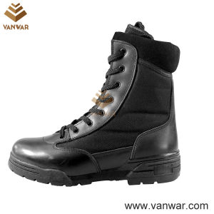 Steel Toe Cap Combat Military Boots of Full Black Leather (WCB012) pictures & photos