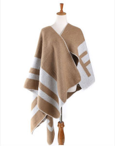 Lady Fashion Acrylic Woven Fringed Jacquard Winter Shawl (YKY4442) pictures & photos