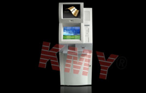 Dual Monitors Card Reader Self Payment Kiosk with Keyboard Kmy8210A pictures & photos