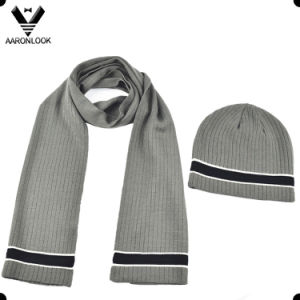 Hot New Design Soft Acrylic Bottom Color Change Stripe Knitting Scarf pictures & photos