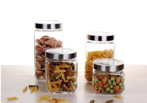 Square Clear Glass Food Storage Jar Candy Jar with Stainless Steel Lid
