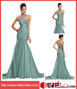 2014 Long New One Shoulder Mermaid Ruffles Chiffon Party Bridesmaid Dress Gown Evening Dress (TC132904)