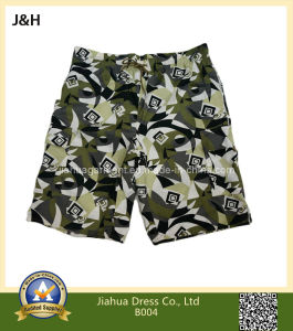 Camouflage Color Beach Shorts with Elastic Waistband and Cord String